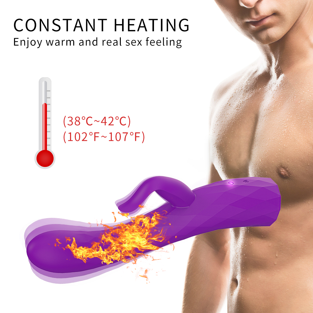 Realistic Dildo Heating Rabbit Vibrator – Adorime Powerful Rotating G-spot Vibrator